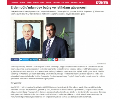 Huge donation and employment security from Erdemoğlu
