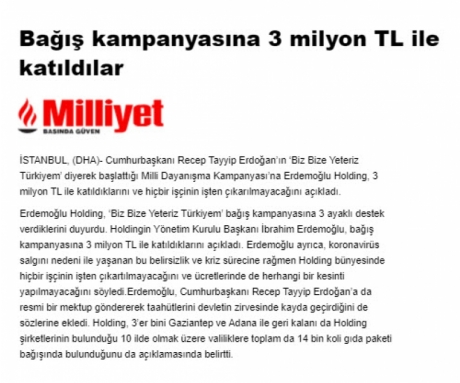 They participated in the donation campaign with 3 million TL -Milliyet